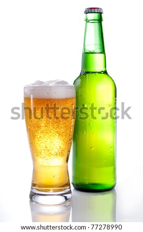 Beer in a green bottle and glass on a white background - stock photo