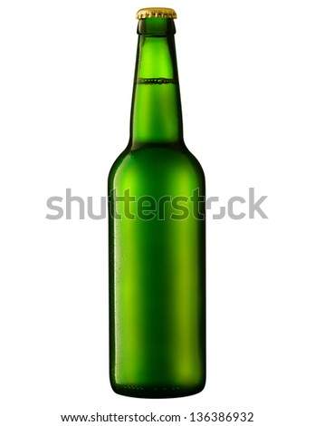 beer in a green bottle isolated on a white background. Clipping Path - stock photo