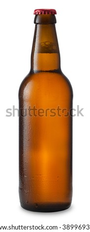 beer in bottle of brown glass with drops isolated on white background - stock photo