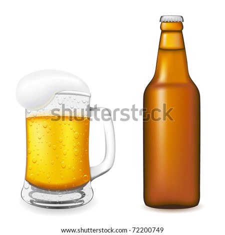 beer in glass and bottle illustration isolated on white background