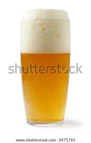 beer in glass - isolated with shade and white background