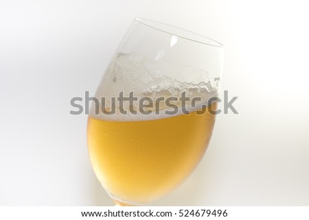 beer in glass on white, wine in glass on white background