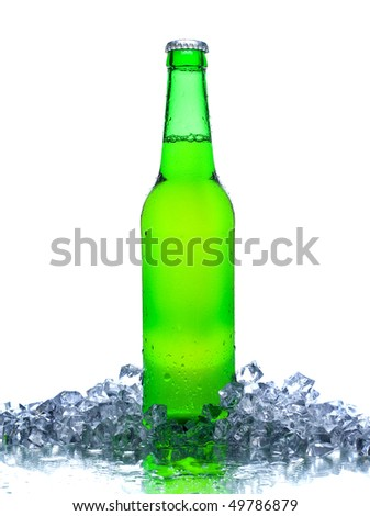 beer in ice isolated on white