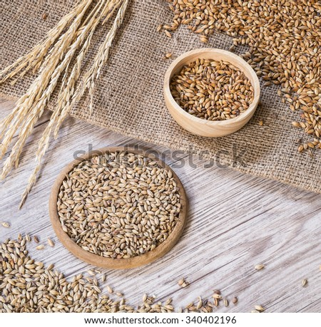 Beer ingredients, Pale ale and caramel malt on wooden background - stock photo