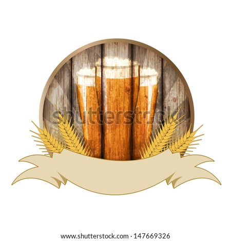 Beer label  isolated on white background, Illustration for text. - stock photo