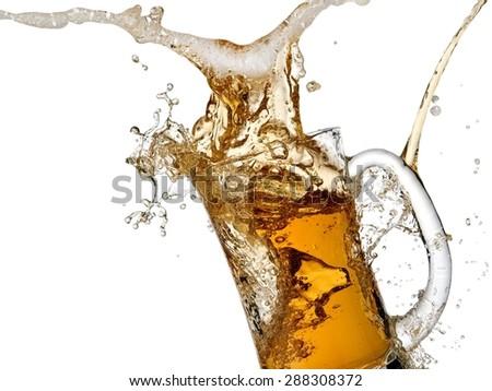 Beer mug splash - stock photo