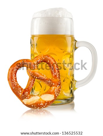 beer mug with german pretzel - stock photo