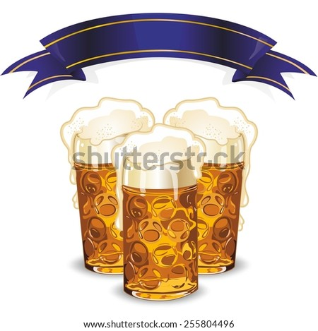Beer mugs and banner - stock photo