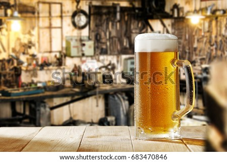 beer on desk and workshop