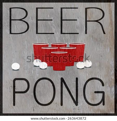 beer pong design on wood grain texture - stock photo