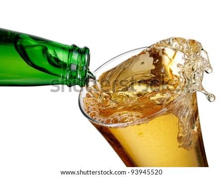 Beer pour in a glass - stock photo