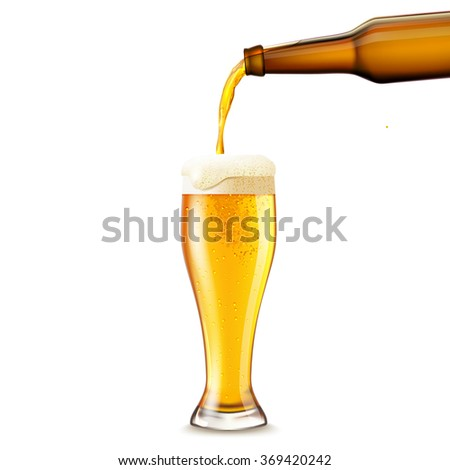 Beer Pouring Realistic - stock photo