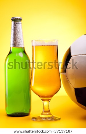 Beer's on yellow background with football