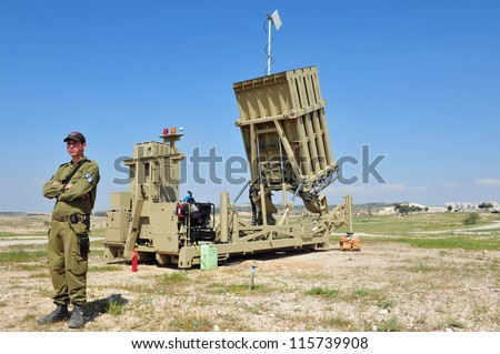 "BEER SHEVA- MARCH 27: An Israeli missile defense system ""Iron Dome"" deployed for the first time today in Beer Sheva, southern Israel on March 27, 2011."