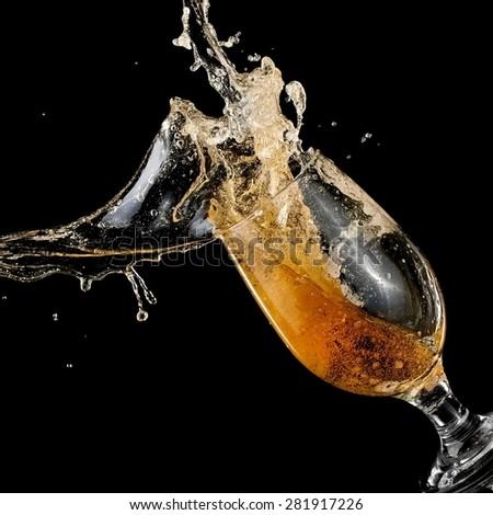 Beer splash, close up - stock photo