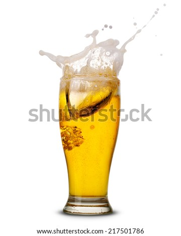 Beer splash in glass isolated on white Clipping Path  - stock photo