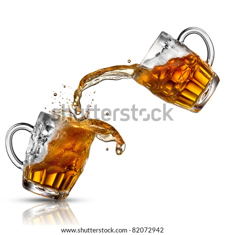 Beer splash in glasses isolated on white - stock photo