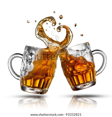 Beer splash in shape of heart isolated on white - stock photo