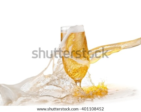 Beer splash over a glass - stock photo