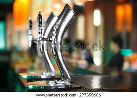 Beer tab in night club bar - stock photo