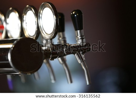 Beer taps close-up - stock photo