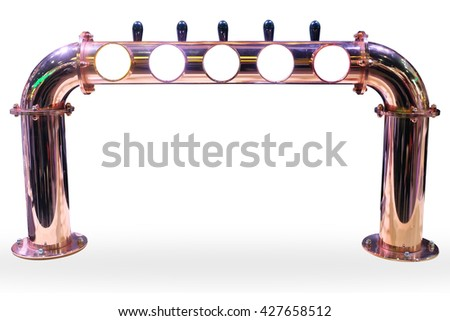 Beer taps in a bar with isolate white blackground. - stock photo