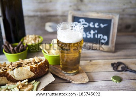 Beer Tasting With Snack - stock photo