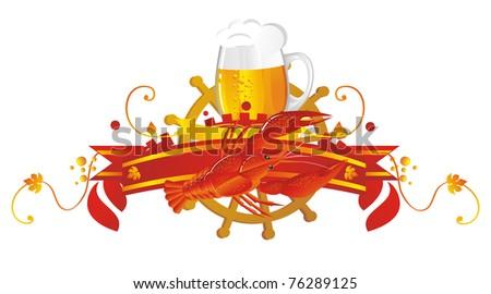 Beer vignette in sea style. Vignette beer with beer mug, crawfish - stock photo