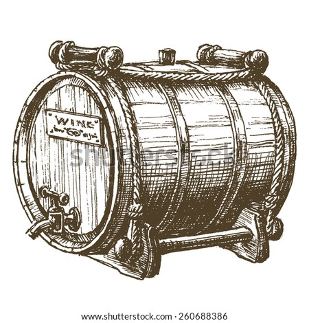 beer, wine, rum, barrel on a white background. sketch