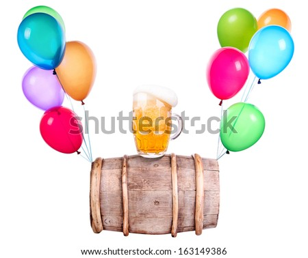 Beer with flying balloons isolated on white - stock photo