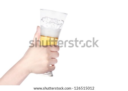 beer with hand making toast isolated on a white background - stock photo
