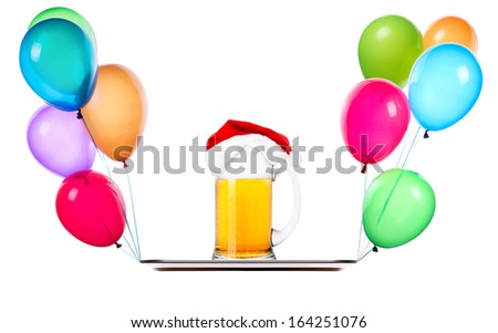 Beer with hat of Santa and flying balloons on a tray isolated on white - stock photo
