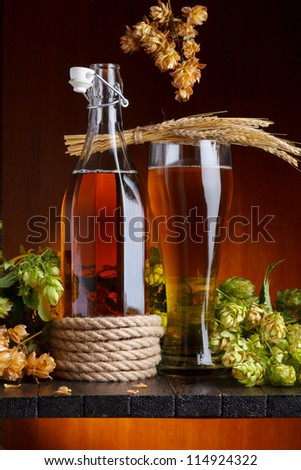 Beer with hop and wheat on wooden table still life