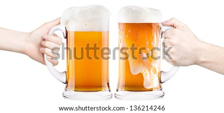 beer with man and woman hand making toast isolated - stock photo
