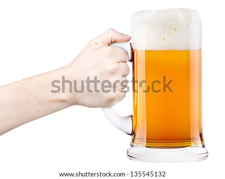 beer with man hand making toast isolated - stock photo
