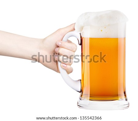 beer with woman hand making toast isolated - stock photo