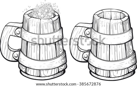 Beer wooden mugs one filled with foam and the second empty. Isolated white Background