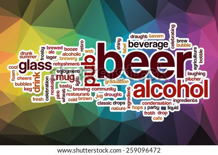 Beer word cloud concept with abstract background - stock photo