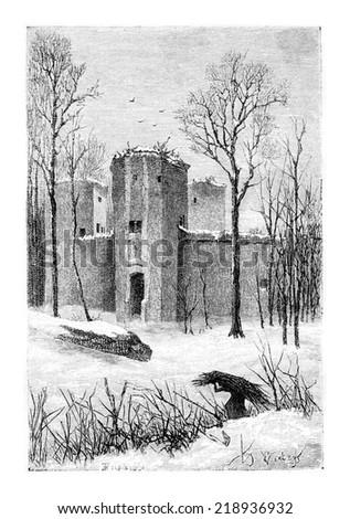 Beersel Castle Ruins in Beersel, Belgium, drawing by Verdyen, vintage illustration. Le Tour du Monde, Travel Journal, 1881 - stock photo