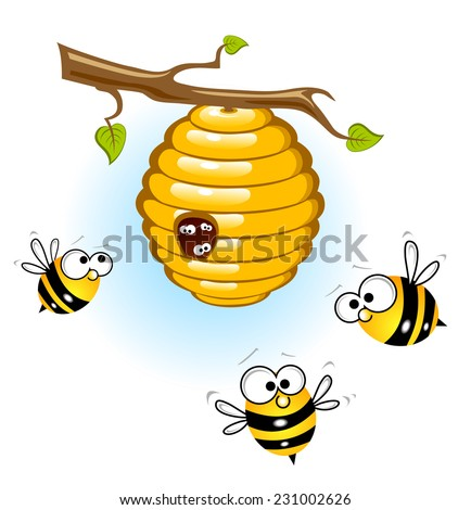 Bees and a beehive - stock photo