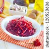 Beet in the white bowl - stock photo