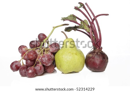 beet root pear and grape - stock photo