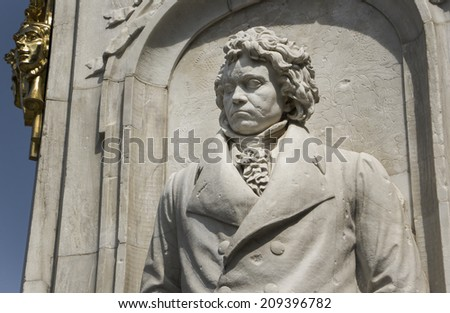Beethoven statue as part of the monument dedicated to German composers at the Tiergarten at Berlin - stock photo