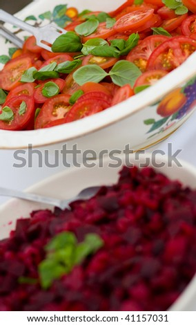 beetroot and tomatoes at a buffet at a wedding