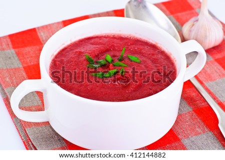 Beetroot Puree Soup with Sour Cream Studio Photo