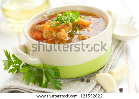Beetroot soup - stock photo