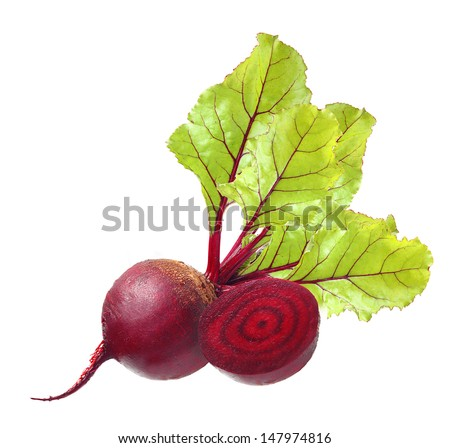 Beetroot with leaves isolated on white - stock photo