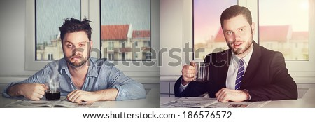 before and after coffee - stock photo