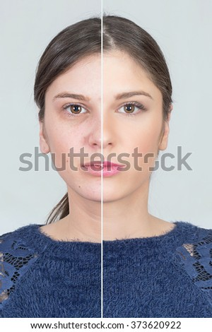 Before and after girl transformation  - stock photo