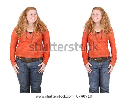 before and after images of the same girl fat and slim - weight loss, diet, positive change concepts - stock photo
